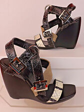 NIB BALENCIAGA BLACK CRACKED SNAKESKIN PATENT LEATHER STRAPPY WEDGE SANDALS 38