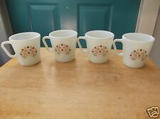 Four Vintage Pyrex Milk Glass Coffee Cups with Brown Floral Image on Both Sides