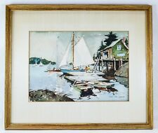 "ORIGINAL JAMES KING BONNAR SIGNED WATERCOLOR, ""SAILBOATS AT DOCK"",NAUTICAL"