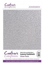 Crafter's Companion SCRAPBOOKING CRAFT LUSSO Cardstock Pack-Argento (250gsm)