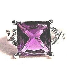 NICE SILVER WOMENS/GIRLS RING SIZE 8 WITH LARGE SQUARE PURPLE STONE