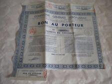 Vintage share certificate Stock Bonds Compagnie Générale Aéropostale 1933