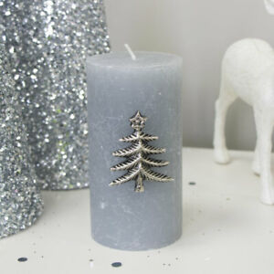 Silver Christmas Tree Candle Pin Decorative Seasonal Table Decor Decorations Xma