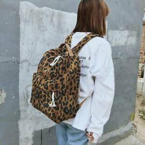Boys Girls Adults Leopard print Nylon Book Bag Backpack Rucksack Travel  Y2
