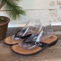 UGG Australia Womens Kamiko 9 Thong Sandal Flip Flops Black Leather 1002885