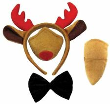 RUDOLPH REINDEER ANTLERS NOSE BOW TIE TAIL SET **NO SOUND** FANCY DRESS COSTUME