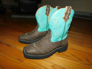 Women's JUSTIN Gypsy Collection Brown & Turquoise Leather Western Boots 6B NICE