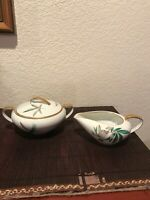 Noritake China Japan 5027 Canton Bamboo Sugar Bowl with Lid and Creamer