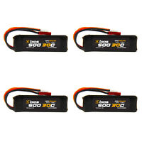 Bias 30C 1 Cell 1S 500mAh 3.7V LiPo Battery with Micro Losi and JST Plug x4 Pack