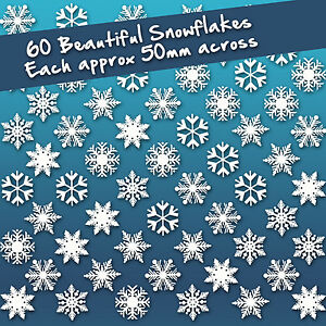 60 x Individual Snowflake White Static Cling Window Stickers