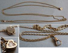 Sautoir chaine de montre collier avec coulant coeur Bijou ancien necklace
