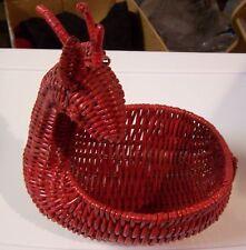 Vintage Wicker Figural Deer Basket Red Woven Rattan Animal Basket 5.5 x 5.5 x 3