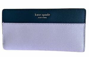 Kate Spade Cameron Large Leather Slim Bifold Wallet Lavender/Petrol Blue