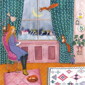 Karte: Mila Marquis - Mädchen mit Buch / Eichhörnchen / Effektlack