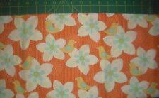 Birds and Floral on Orange Quilt Fabric - 1 yds