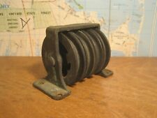 Vintage Brass 4 Sheave Pulley Maritime Steampunk Lamp Antique Hardware