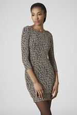 Topshop Glitter Animal Bodycon Party Dress SIZE UK10 EUR38 US6