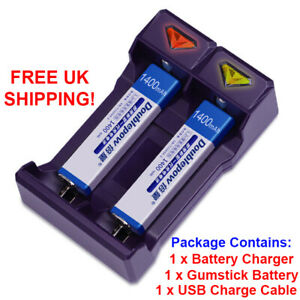 Gumstick Battery Charger NiMH including Gumstick Battery NH-14WM 1400 mAh AA AAA