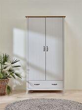 Steens Norfolk Solid Painted Grey & Oak Panelled 2 Door Drawer Wardrobe Wood