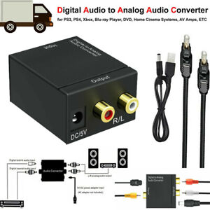 Digital Optical Coax to Analog RCA L/R Audio Converter Adapter with Fiber Cable