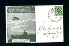More details for 1911  first uk aerial post  special green post card  good condition    (s692)