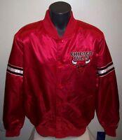"CHICAGO BULLS Starter Satin Jacket ""Red Bulls Head""  LG, XL RED"