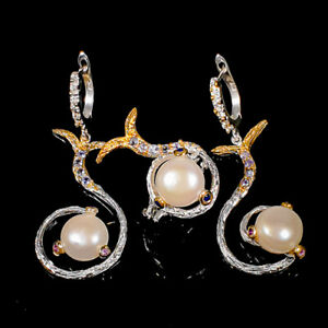 Jewelry Unique SET Pearl Ring Silver 925 Sterling  Size 6.75 /R162189