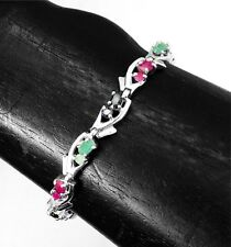 Artisan Sterling Silver Ruby, Emerald and Sapphire Gemstone Bracelet