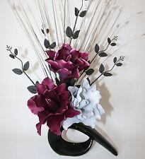Artificial Silk Flower Arrangement Plum & Grey Open  Lily Flowers Black Vase.