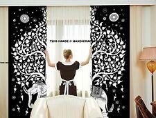 Elephant Tree Mandala Curtains Set Decorative Indian Tapestry Tab Top Curtains