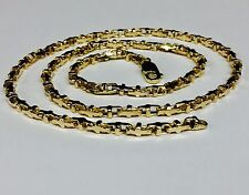 """10k Solid Yellow Gold Anchor Bullet Link Chain Necklace 3.1 MM  22 grams  22"""""""