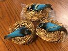 Vtg Lot Spun Cotton Flock Turquoise Birds in Nest Christmas Ornament Decoration