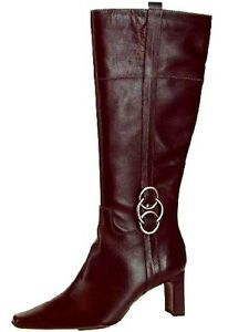 Gorgeous Ladies Black Leather Knee High Womens Heeled Boots Buckles NEW