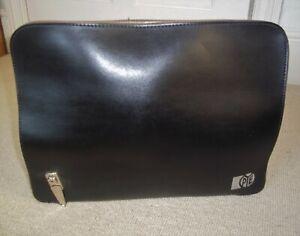Fabulous VINTAGE/RETRO 1980's Black Faux Leather Attache/Document Case - PYE