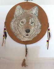 EXCELLENT WOLF SHIELD BY KENT MCBRIDE CANADIAN METIS ARTIST DATED JAN/13 PIGSKIN
