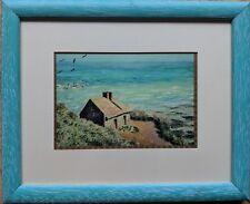 Framed Postcard Cottage on Beach