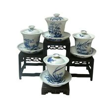 Set of 4 Chinese Seasons Blue & White Porcelain Teacup cs453