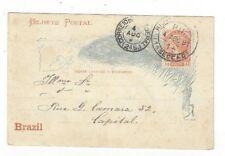 1891 Rio de Janeiro Brazil  40R Postal Stationery Card, Local