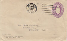 Stamp 2d violet KGV1 printed to private order embossed envelope AL Smith receipt