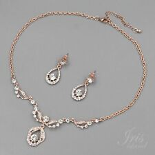 ROSE GOLD Plated Crystal Rhinestone Necklace Earrings Wedding Jewelry Set 06812