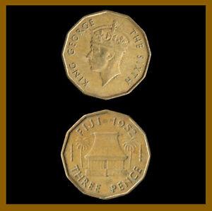 Fiji 3 Pence Coin, 1952 Km# 18 King George VI Palm Tree Shack (Cir)