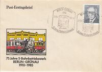 DDR FDC Ersttagsbrief 1985 75 Jahre S-Bahnbetriebswerk Berlin-Grünau Mi.2851