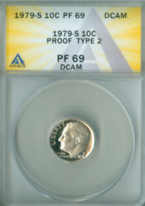 1979-S Type 2 Proof Roosevelt Dime ANACS PF-69 DCAM FREE S/H (2126626)