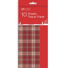 10 X 50cm Christmas Wrapping Paper Tartan Tissue Sheets Gift Present Boy Girl