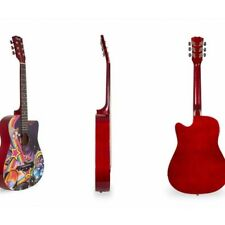 Davis Acoustic Guitar D3802 Red color with design