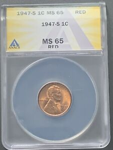 1947 S Lincoln Wheat Cent 1C - ANACS MS65 RED