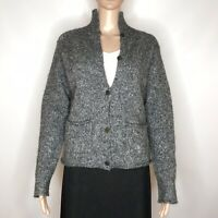 Eileen Fisher Cardigan Sweater Size S Wool Mohair Alpaca Gray Hong Kong Italian