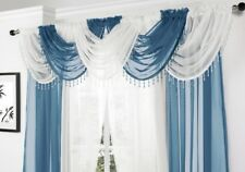 TEAL AND WHITE SWAG SET 10 ITEMS VOILE CURTAINS 5 SWAGS T/BACKS