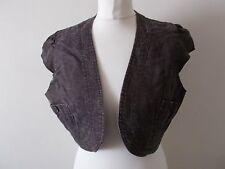Women's Faded Brown Linen Blend Bolero Shrug Jacket  by Evie Size 16