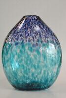 Contemporary Aqua Marine & Purple Flower Vase. By Saul Alcaraz. Blown Glass